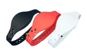 SM-8000 RFID MOVE Wristband in Black, Red, and White