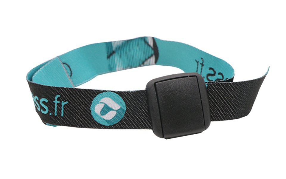 Adjustable fabric wristband with RFID tag attached