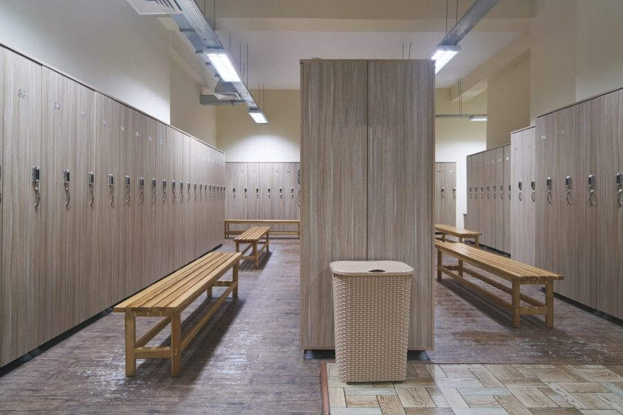 Clean locker room with RFID locker locks